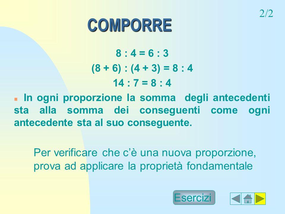 2/2 COMPORRE. 8 : 4 = 6 : 3. (8 + 6) : (4 + 3) = 8 : 4. 14 : 7 = 8 : 4.