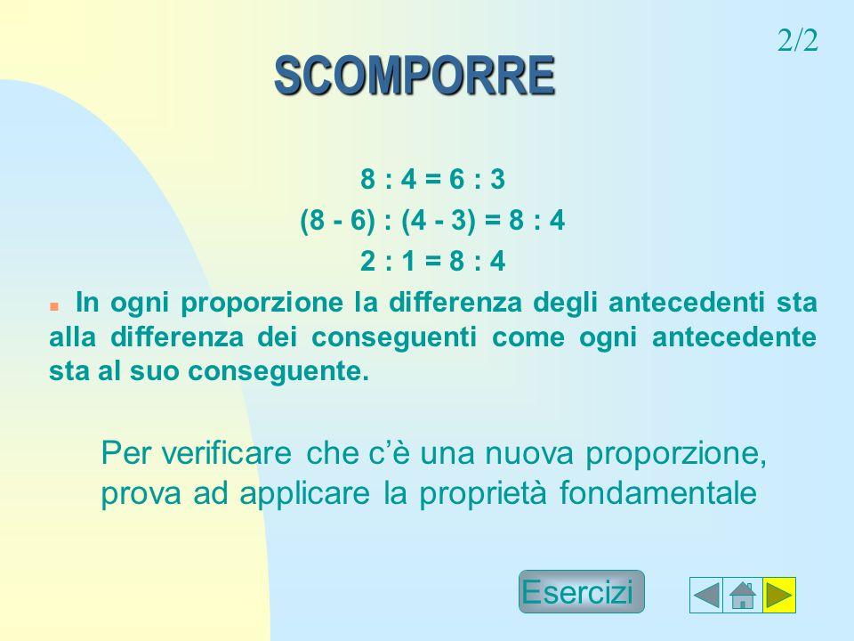 2/2 SCOMPORRE. 8 : 4 = 6 : 3. (8 - 6) : (4 - 3) = 8 : 4. 2 : 1 = 8 : 4.
