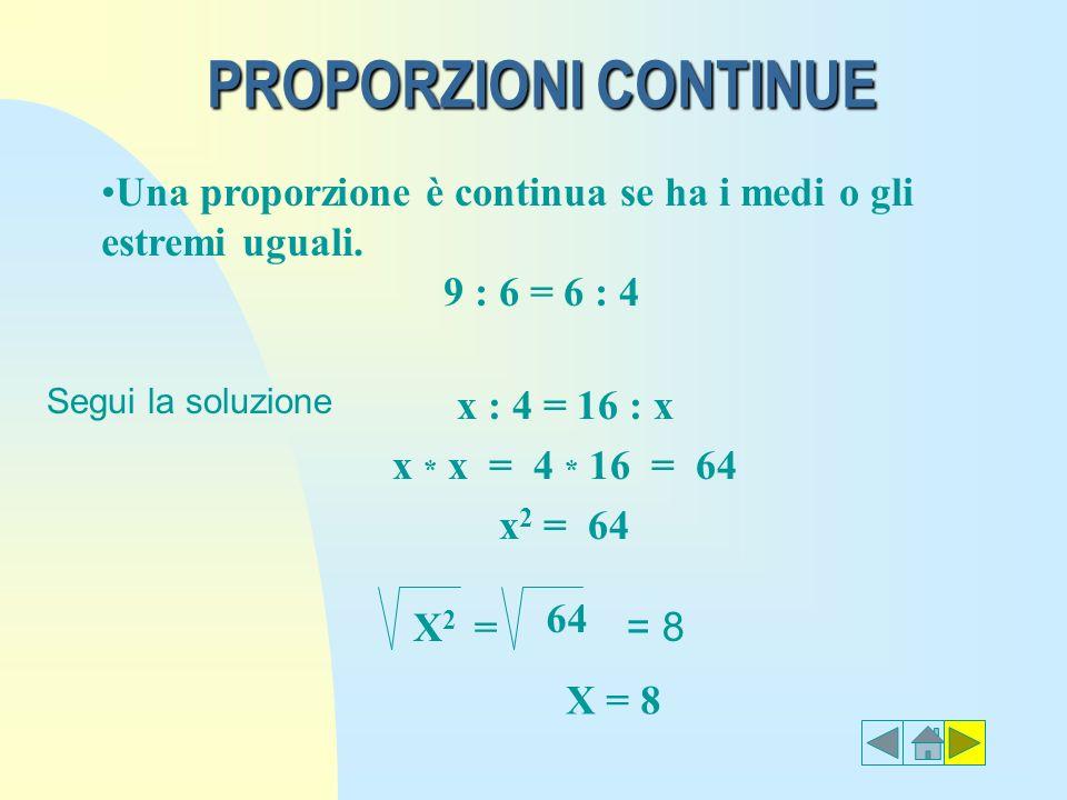 PROPORZIONI CONTINUE Una proporzione è continua se ha i medi o gli estremi uguali. 9 : 6 = 6 : 4. Segui la soluzione.