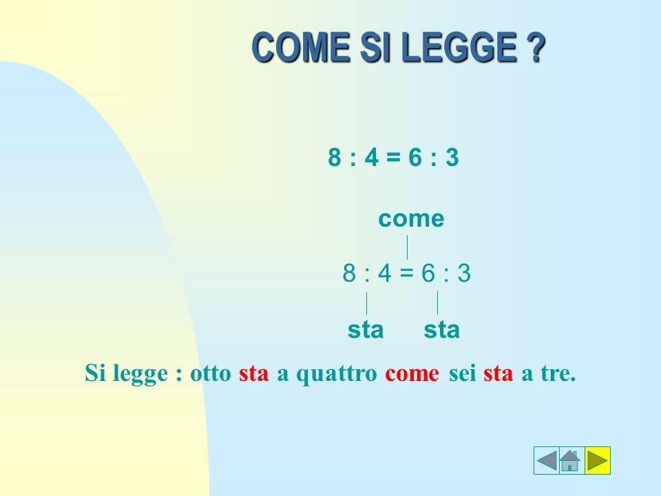 COME SI LEGGE 8 : 4 = 6 : 3 come 8 : 4 = 6 : 3 sta sta