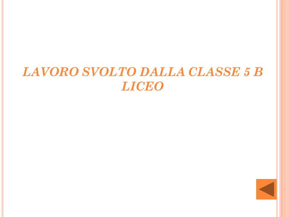 LAVORO SVOLTO DALLA CLASSE 5 B LICEO