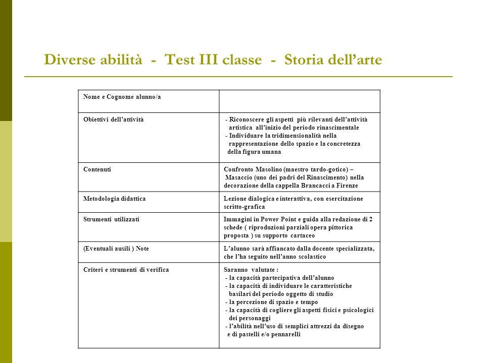 Diverse abilità - Test III classe - Storia dell'arte