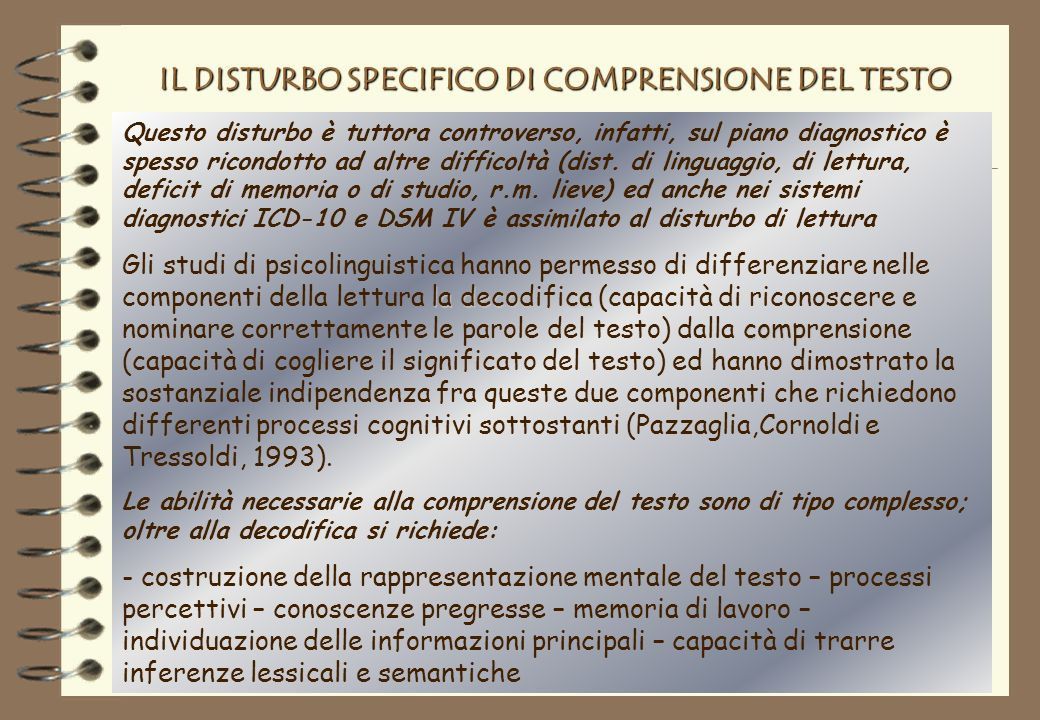 IL DISTURBO SPECIFICO DI COMPRENSIONE DEL TESTO