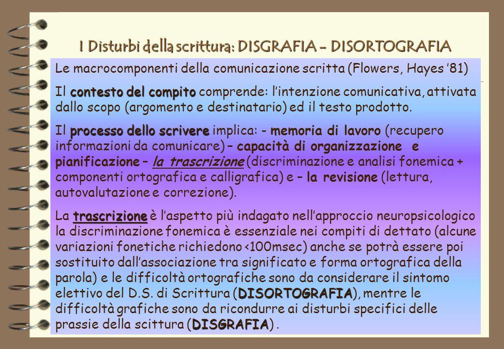 I Disturbi della scrittura: DISGRAFIA - DISORTOGRAFIA