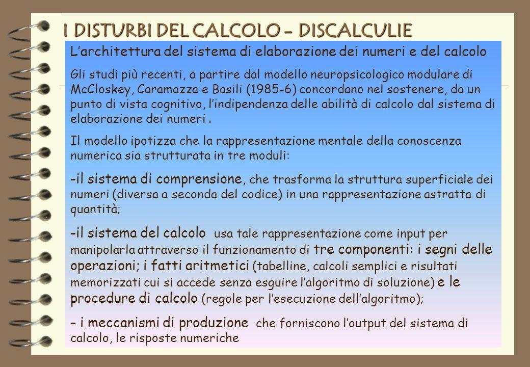 I DISTURBI DEL CALCOLO - DISCALCULIE