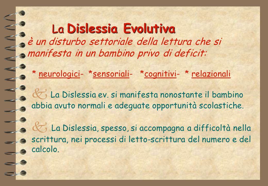 La Dislessia Evolutiva è un disturbo settoriale della lettura che si manifesta in un bambino privo di deficit: * neurologici- *sensoriali- *cognitivi- * relazionali