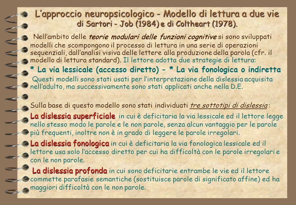 L'approccio neuropsicologico - Modello di lettura a due vie di Sartori - Job (1984) e di Coltheart (1978).