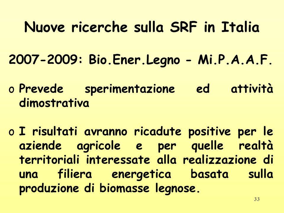 Nuove ricerche sulla SRF in Italia