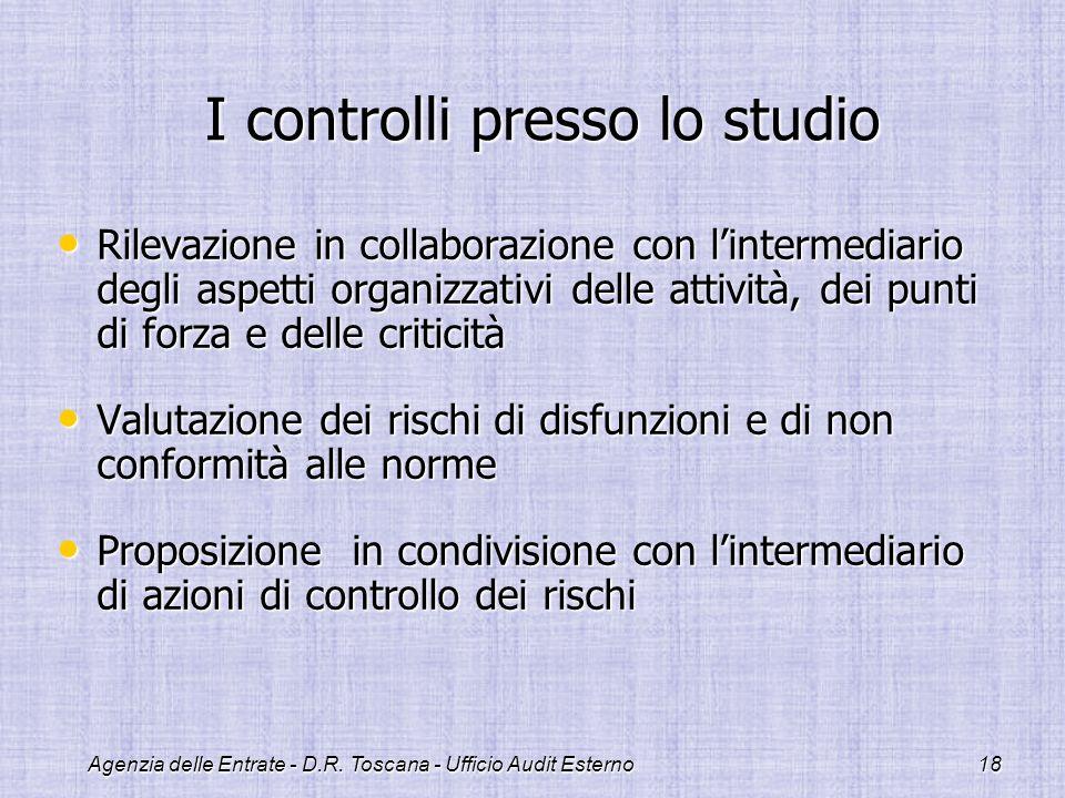 I controlli presso lo studio