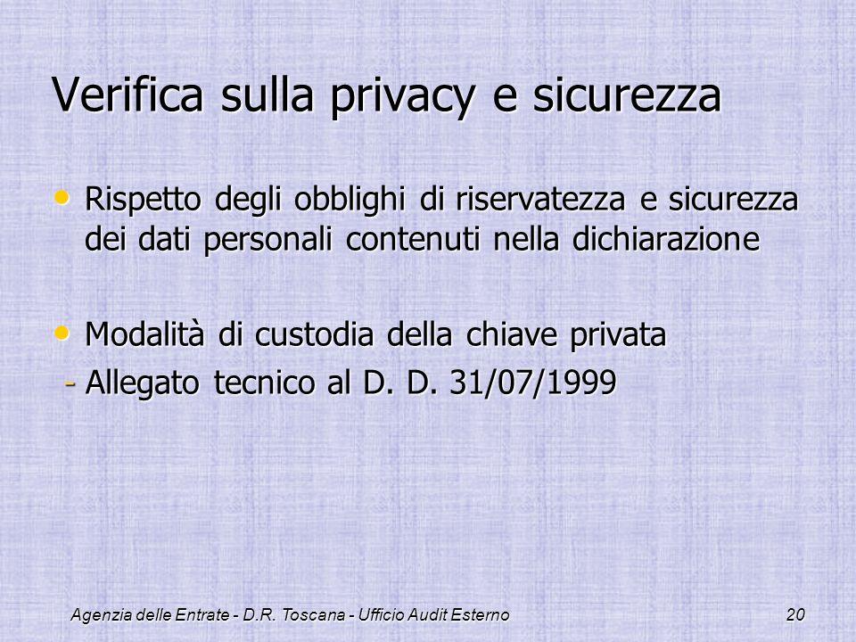 Verifica sulla privacy e sicurezza