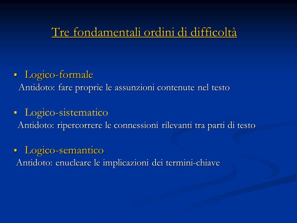 Tre fondamentali ordini di difficoltà