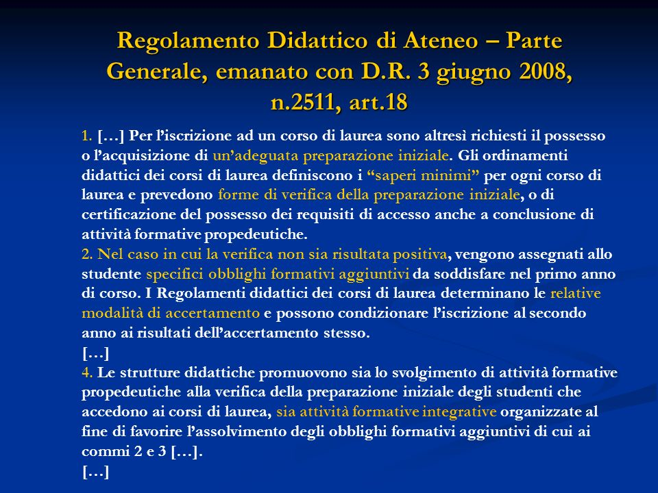 Regolamento Didattico di Ateneo – Parte Generale, emanato con D. R