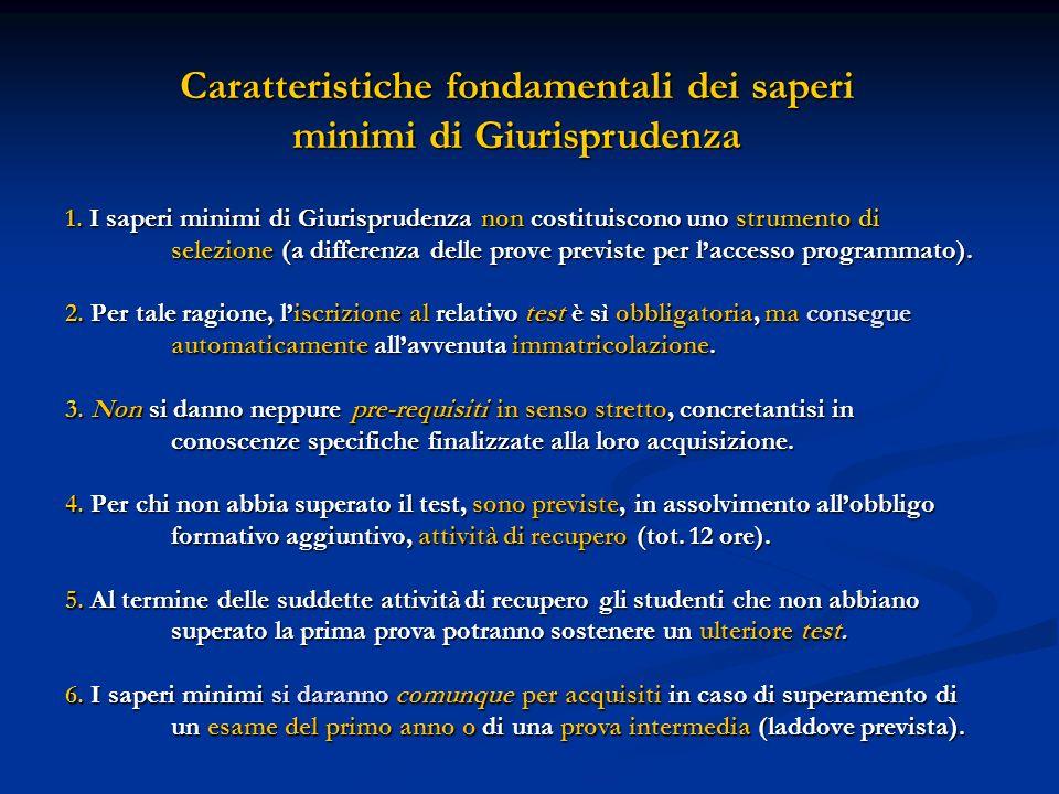 Caratteristiche fondamentali dei saperi minimi di Giurisprudenza