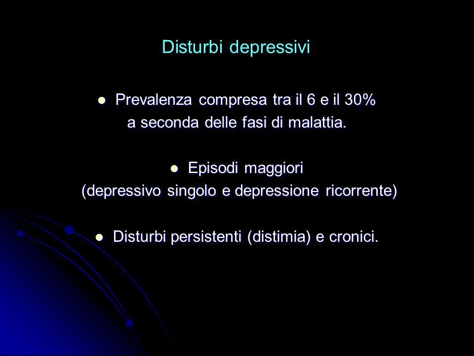 Disturbi depressivi Prevalenza compresa tra il 6 e il 30%