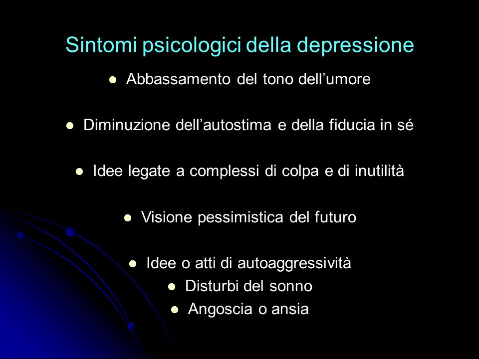 Sintomi psicologici della depressione