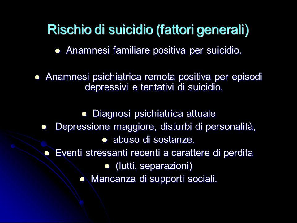 Rischio di suicidio (fattori generali)