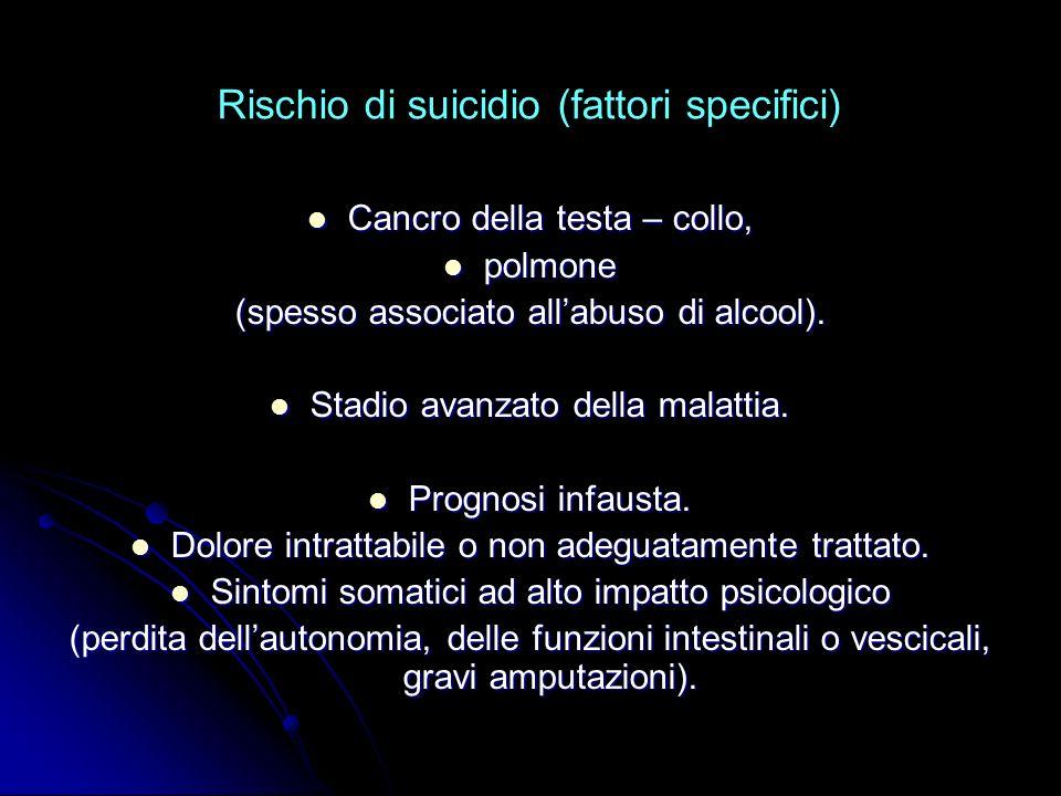 Rischio di suicidio (fattori specifici)
