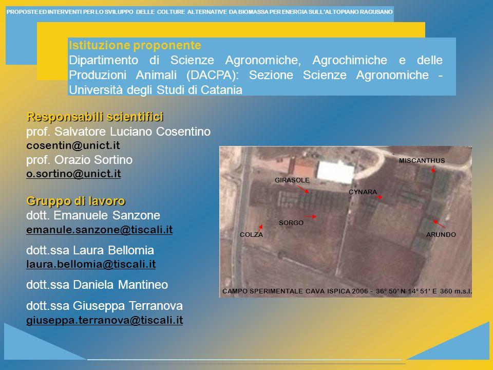 CAMPO SPERIMENTALE CAVA ISPICA 2006 - 36° 50' N 14° 51' E 360 m.s.l.