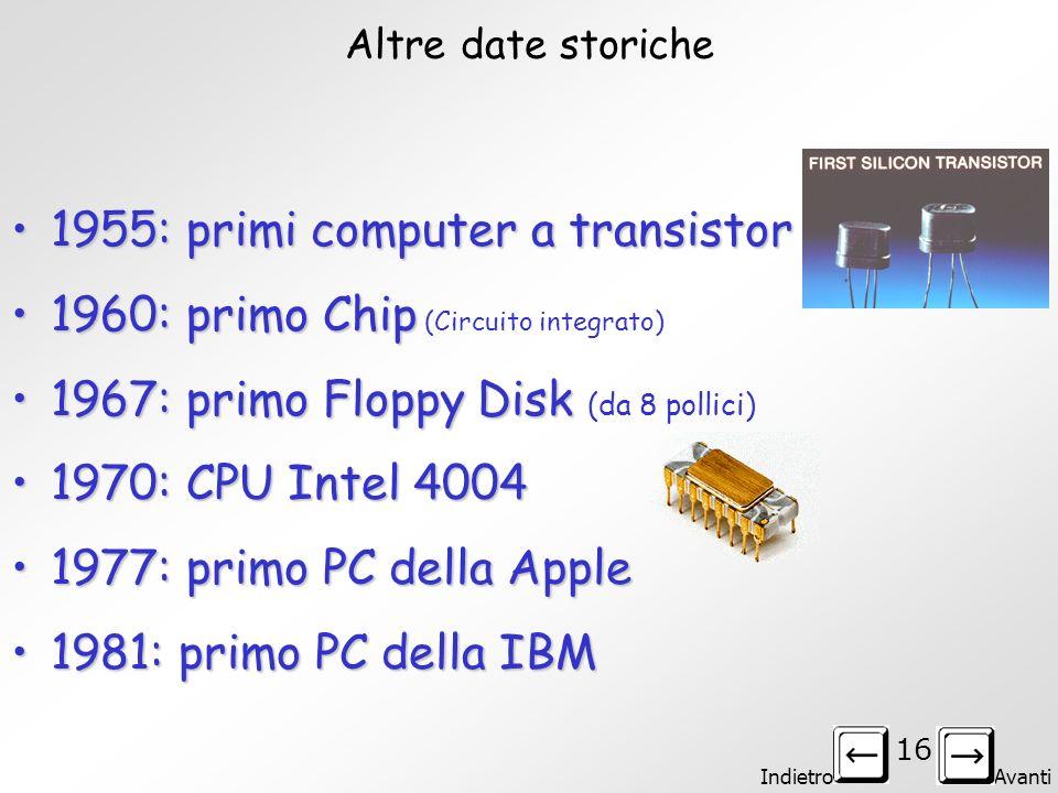 1955: primi computer a transistor