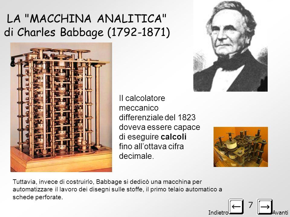 LA MACCHINA ANALITICA di Charles Babbage (1792-1871)