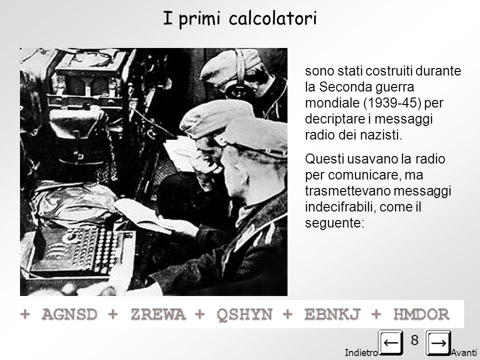 I primi calcolatori sono stati costruiti durante la Seconda guerra mondiale (1939-45) per decriptare i messaggi radio dei nazisti.