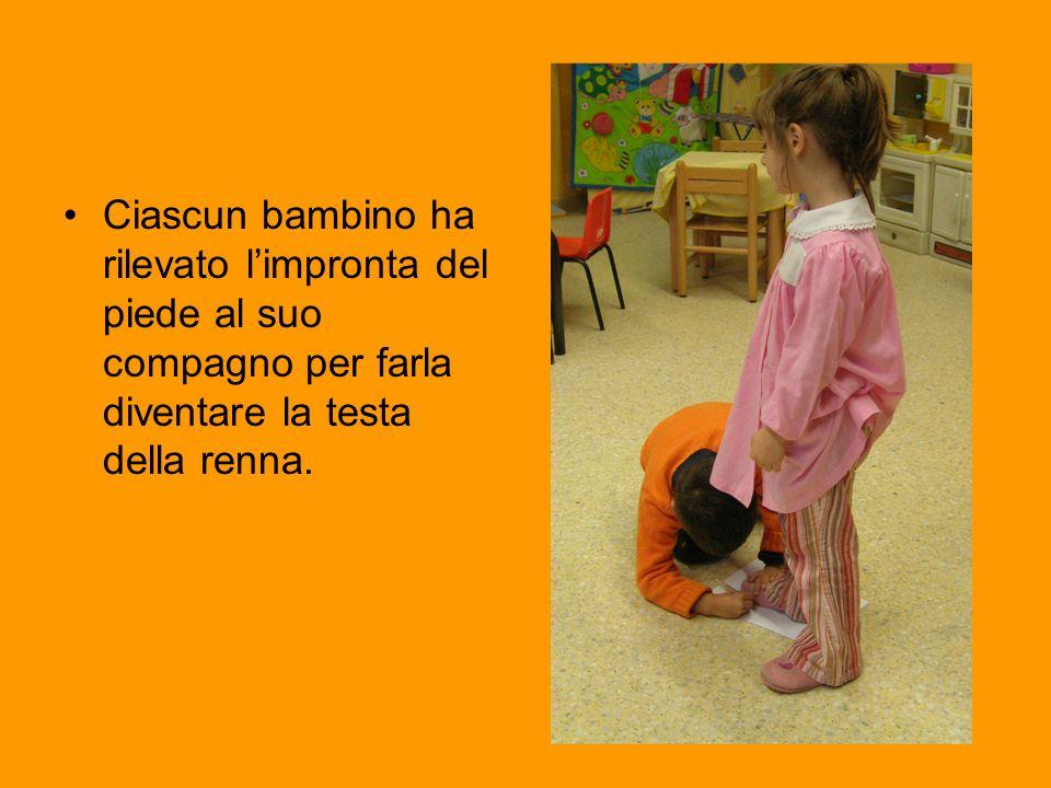 Ciascun bambino ha rilevato l'impronta del piede al suo compagno per farla diventare la testa della renna.