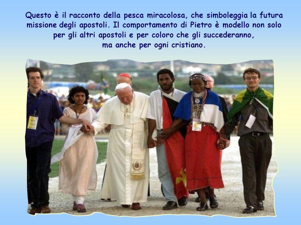 Questo è il racconto della pesca miracolosa, che simboleggia la futura missione degli apostoli.