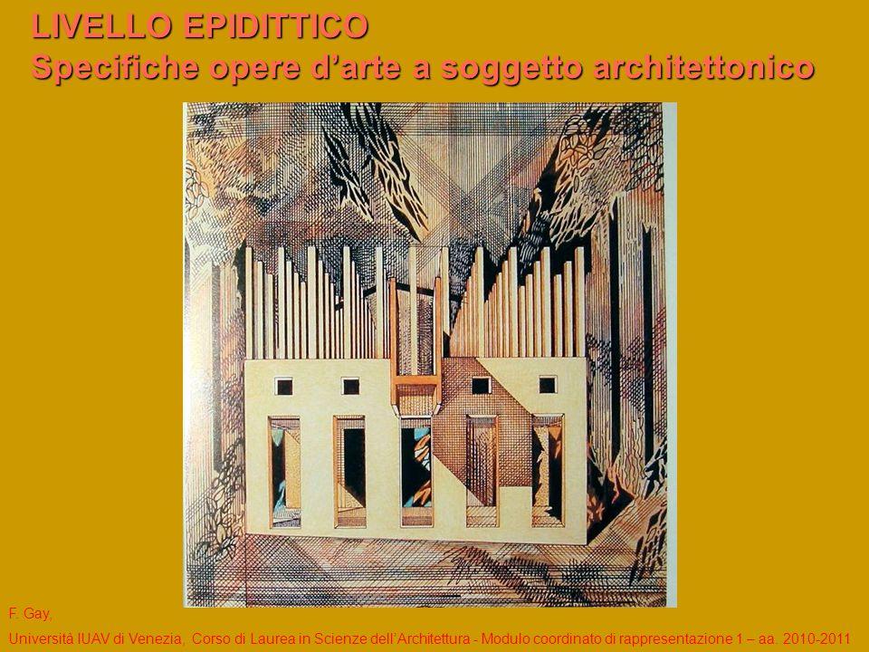 LIVELLO EPIDITTICO Specifiche opere d'arte a soggetto architettonico