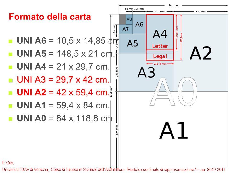 Formato della carta UNI A6 = 10,5 x 14,85 cm. UNI A5 = 148,5 x 21 cm. UNI A4 = 21 x 29,7 cm. UNI A3 = 29,7 x 42 cm.