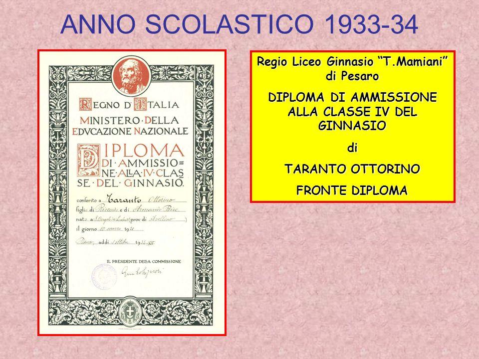 ANNO SCOLASTICO 1933-34 Regio Liceo Ginnasio T.Mamiani di Pesaro