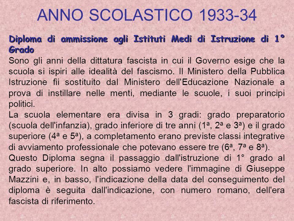 ANNO SCOLASTICO 1933-34 Diploma di ammissione agli Istituti Medi di Istruzione di 1° Grado.