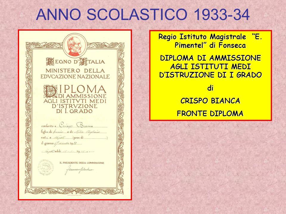 ANNO SCOLASTICO 1933-34 Regio Istituto Magistrale E. Pimentel di Fonseca. DIPLOMA DI AMMISSIONE AGLI ISTITUTI MEDI D'ISTRUZIONE DI I GRADO.