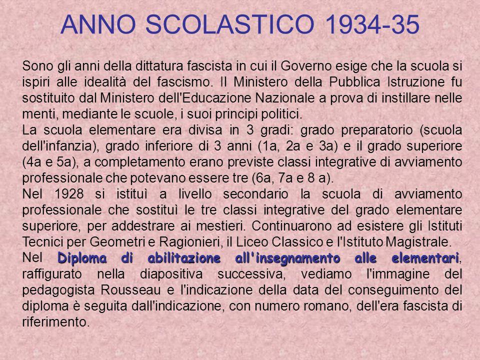 ANNO SCOLASTICO 1934-35