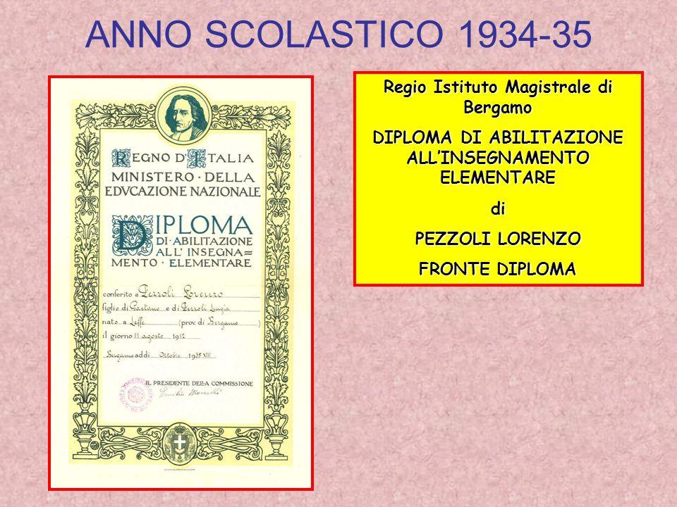 ANNO SCOLASTICO 1934-35 Regio Istituto Magistrale di Bergamo