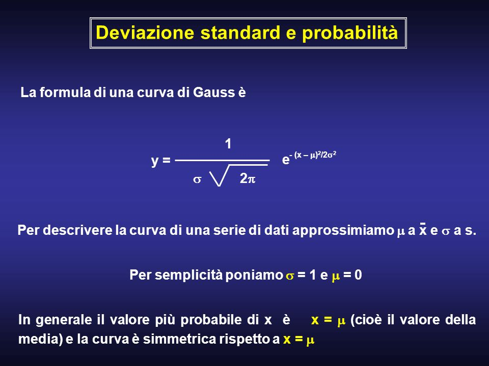 Deviazione standard e probabilità