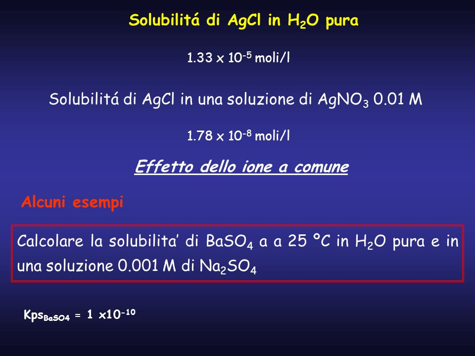 Solubilitá di AgCl in H2O pura