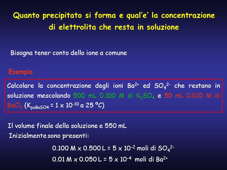 Quanto precipitato si forma e qual'e' la concentrazione di elettrolita che resta in soluzione