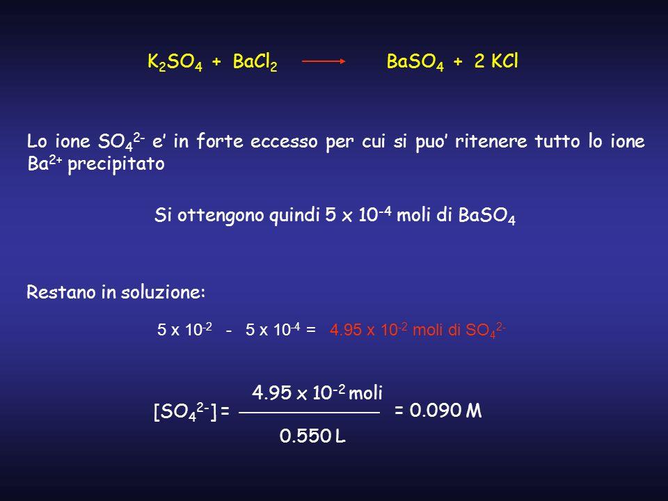 Si ottengono quindi 5 x 10-4 moli di BaSO4