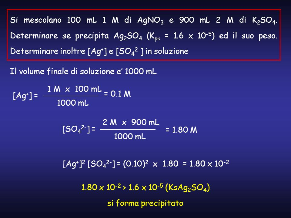 Si mescolano 100 mL 1 M di AgNO3 e 900 mL 2 M di K2SO4