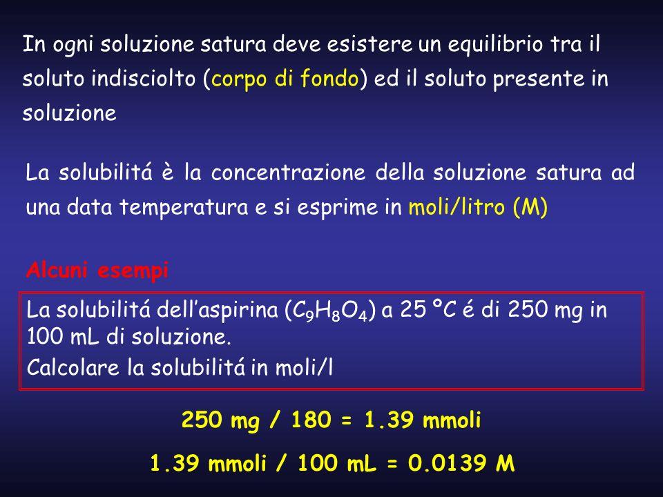 In ogni soluzione satura deve esistere un equilibrio tra il soluto indisciolto (corpo di fondo) ed il soluto presente in soluzione