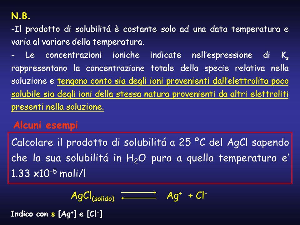 N.B. Il prodotto di solubilitá è costante solo ad una data temperatura e varia al variare della temperatura.