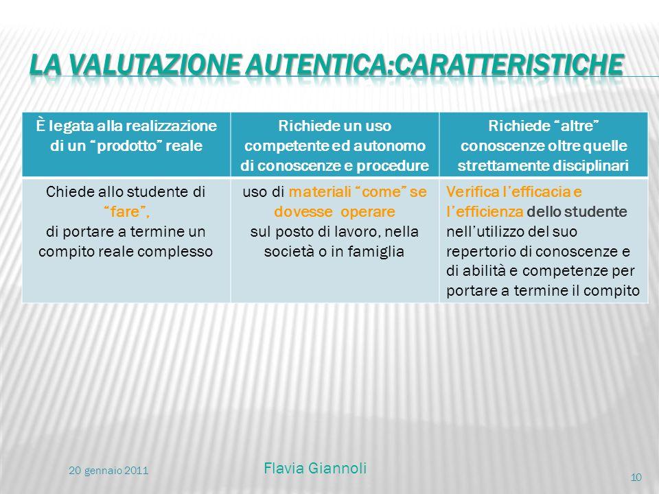 la valutazione autentica:caratteristiche