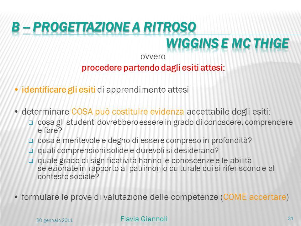 B -- PROGETTAZIONE A RITROSO Wiggins e Mc Thige
