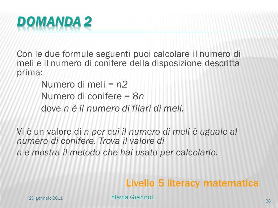 Domanda 2 Livello 5 literacy matematica Numero di meli = n2