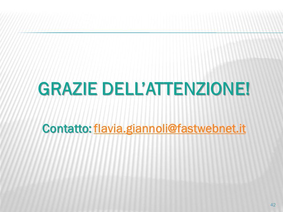 GRAZIE DELL'ATTENZIONE! Contatto: flavia.giannoli@fastwebnet.it