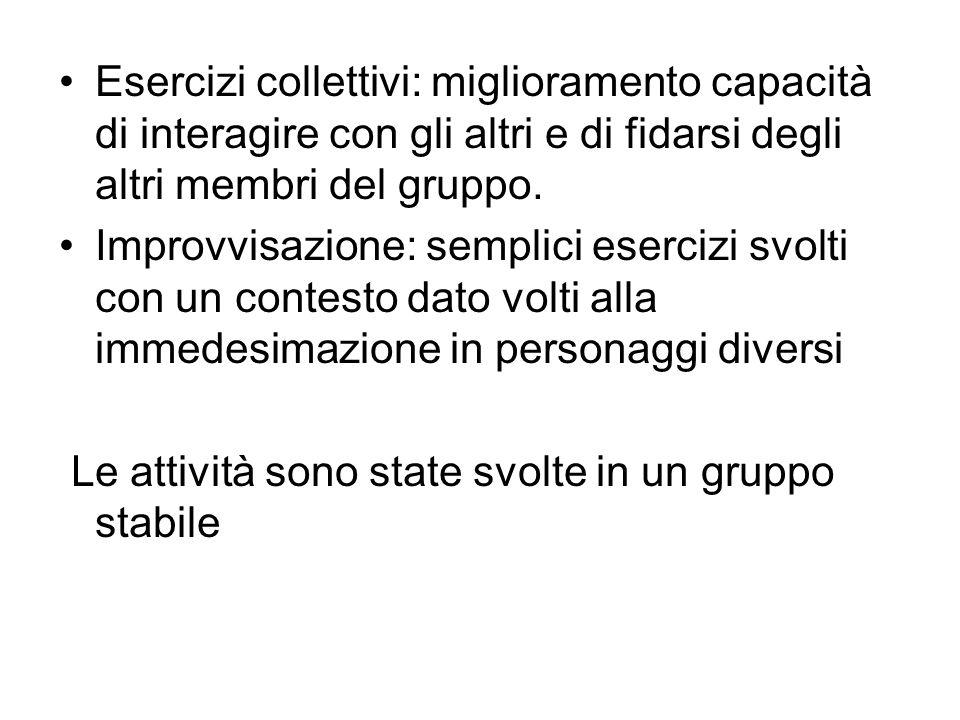 Esercizi collettivi: miglioramento capacità di interagire con gli altri e di fidarsi degli altri membri del gruppo.