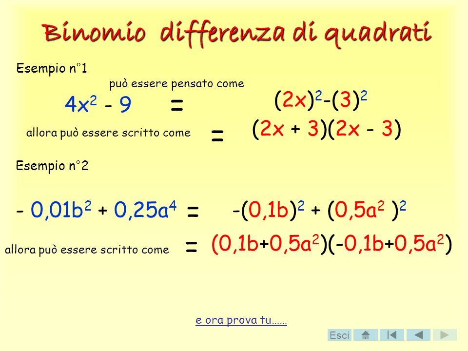 Binomio differenza di quadrati