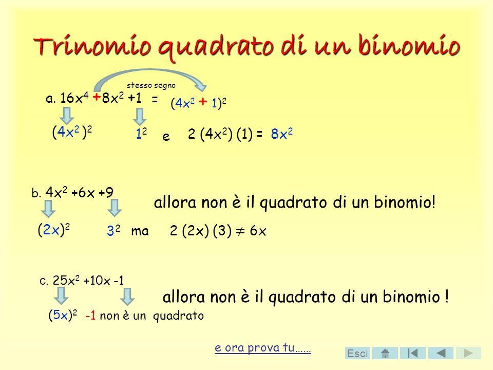 Trinomio quadrato di un binomio