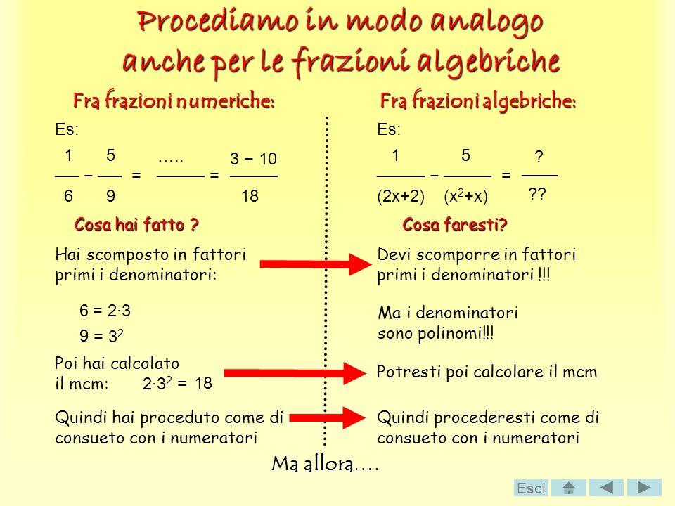 Procediamo in modo analogo anche per le frazioni algebriche