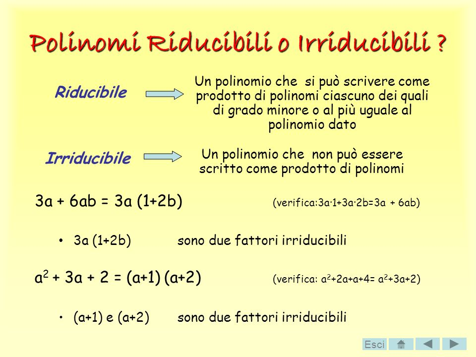 Polinomi Riducibili o Irriducibili